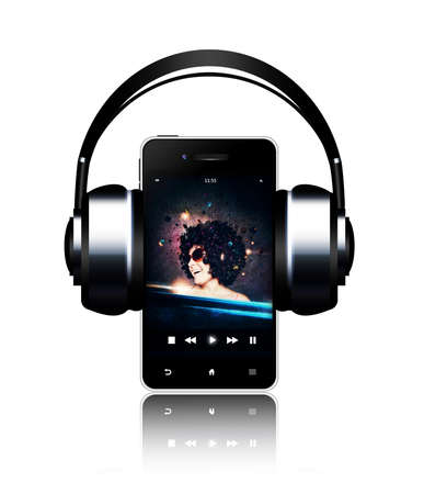 mobile phone and headphones with music listening woman on touch screen over white photo