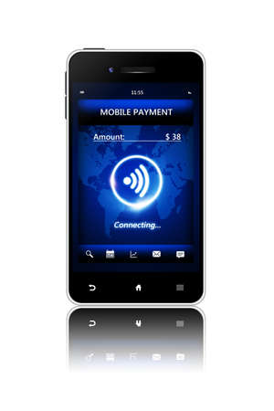 non cash: cellphone with mobile payment connection isolated over white  Stock Photo