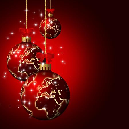 christmas glass balls with world pattern over dark red  Reklamní fotografie