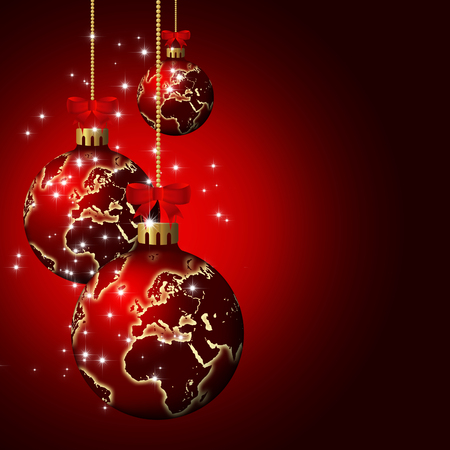christmas glass balls with world pattern over dark red  photo