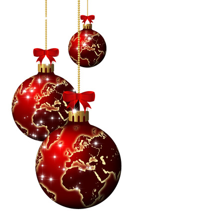 christmas glass balls with world pattern isolated over white