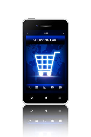 shopping cart: mobile phone with shopping cart screen isolated over white