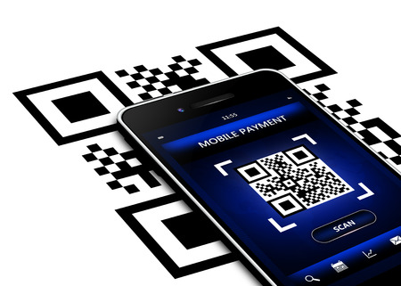 mobile phone with qr code screen isolated over white background photo