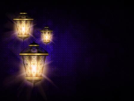 shiny lantern over dark violet eid al fitr backgrorund