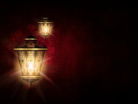 暗い赤イード アル明け backgrorund に光沢のあるランタン 写真素材