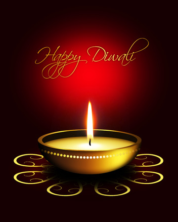oil lamp with diwali greetings over dark red background photo