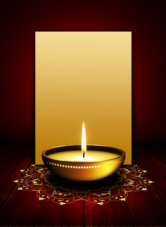 oil lamp with place for diwali greetings over dark red background photo