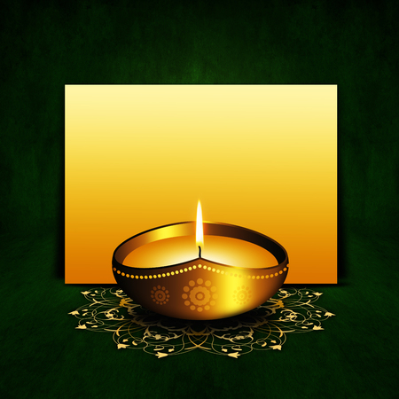 oil lamp: oil lamp with place for diwali greetings over dark green  Stock Photo