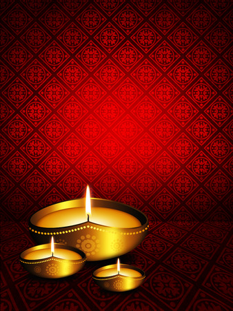 oil lamp with diwali greetings over dark red  photo