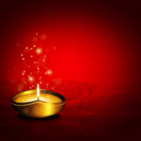 dipawali: oil lamp with place for diwali greetings over dark red  Stock Photo