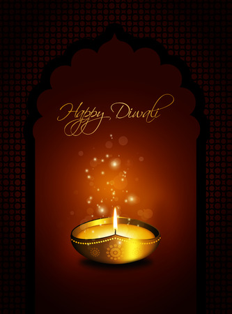 dipawali: oil lamp with diwali greetings over gold  Stock Photo