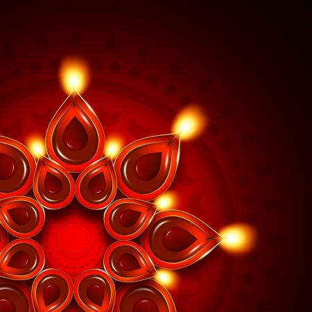 oil lamp with diwali diya elements over dark red