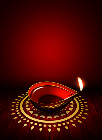 dipawali: oil lamp with place for diwali greetings over dark red background Stock Photo