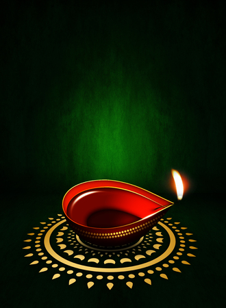 dipawali: oil lamp with place for diwali greetings over dark green background