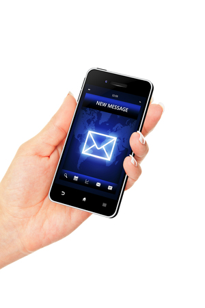 new message: hand holding mobile phone with new message screen over white background