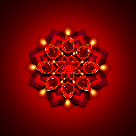 rangoli with diwali diya elements over dark red background photo