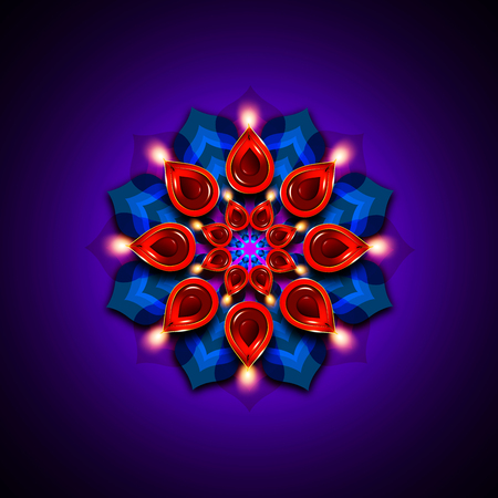 rangoli with diwali diya elements over dark blue background photo
