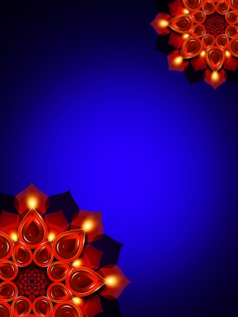 oil lamps with diwali diya elements over dark blue background photo