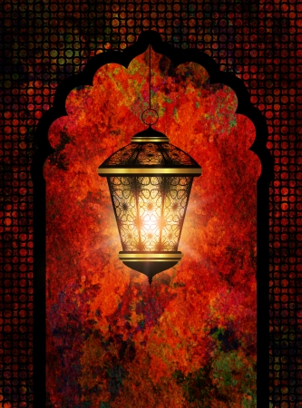colorful ramadan kareem background with shiny lantern photo