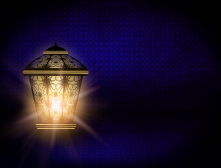 chand: oscuro ramadan kareem fondo con la linterna brillante Foto de archivo