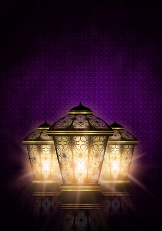 ul: dark ramadan kareem background with shiny lanterns Stock Photo