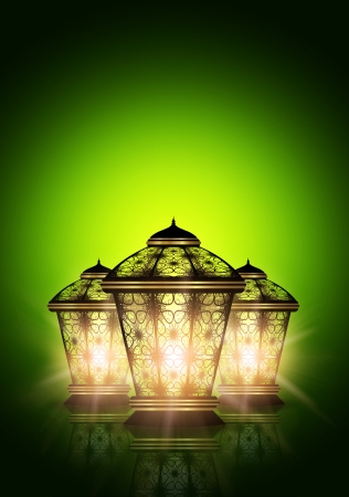 dark ramadan kareem background with shiny lanterns photo