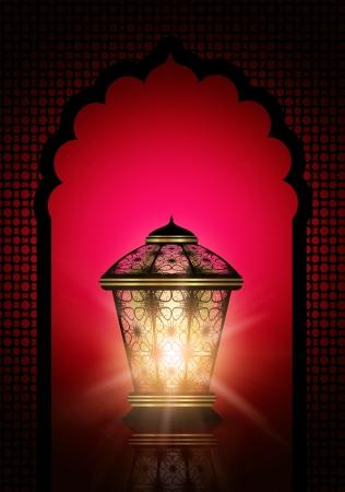 KA: dark ramadan kareem background with shiny lanterns Stock Photo