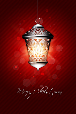 merry mood: christmas background with shiny lantern and merry christmas greetings