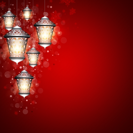 christmas background with shiny lanterns and place for text