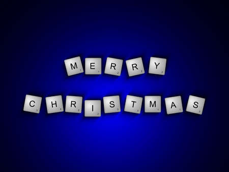 scrabble letters spelling merry christmas greetings over dark wooden background photo