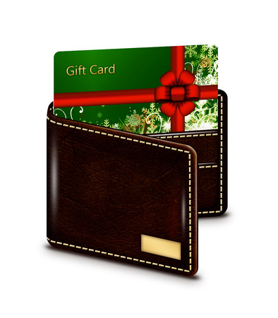 seson: gift card in wallet isolated over white background