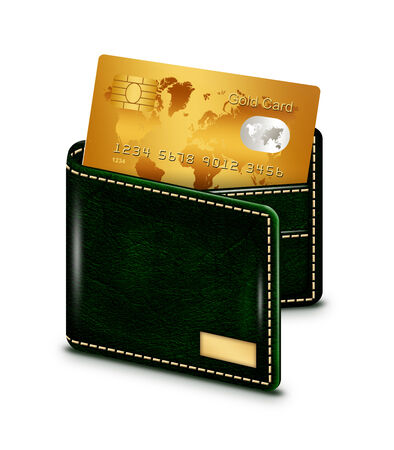 non cash: gold card in wallet isolated over white background