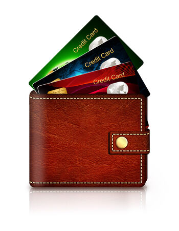non cash: credit cards in wallet isolated over white background Stock Photo