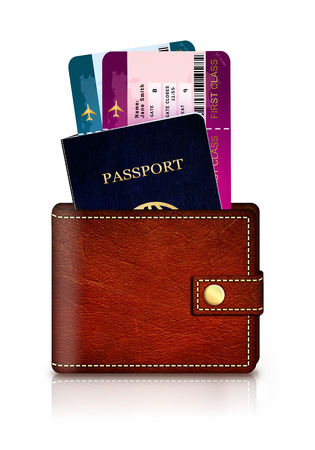 passport and fly tickets in wallet isolated over white background Stock Photo