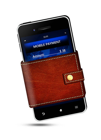 wallet and mobile phone with mobile payment screen over white background photo
