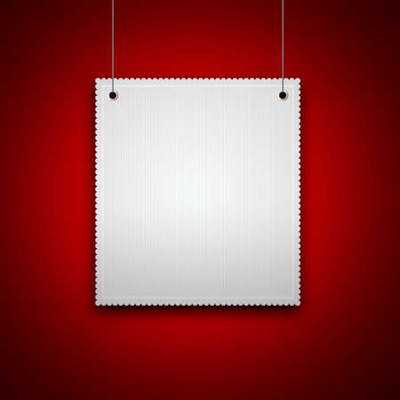 decorative blank hanging on red wall with place for text Stock Photo