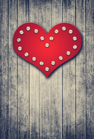 hobnail: grunge wooden valentine background with red heart