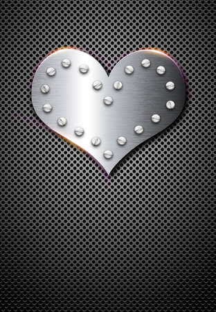 hobnail: metal valentine background with chrome shiny heart Stock Photo