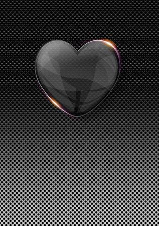 el coraz�n de san valent�n: cristal brillante coraz�n de San Valent�n m�s de fondo oscuro del metal Foto de archivo