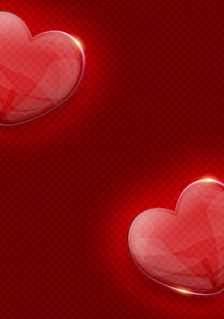 valentijn hart: glas glanzend valentijn hart over donkere rode achtergrond