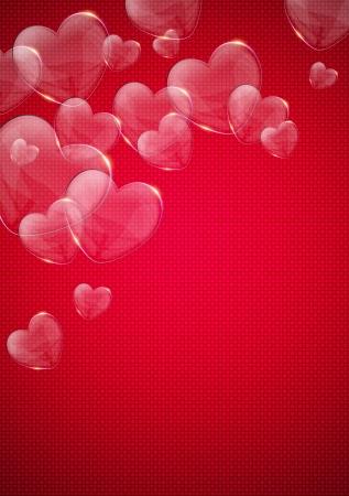valentijn hart: glazen glanzend valentijn hart over roze achtergrond