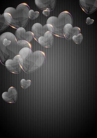 el coraz�n de san valent�n: cristal brillante coraz�n de San Valent�n sobre fondo oscuro Foto de archivo