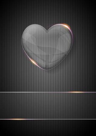 valentijn hart: glazen glanzend valentijn hart over donkere achtergrond Stockfoto
