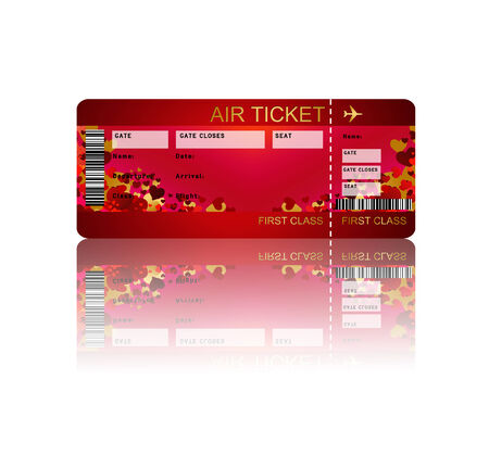 valentine fly ticket with shadow isolated over white background photo