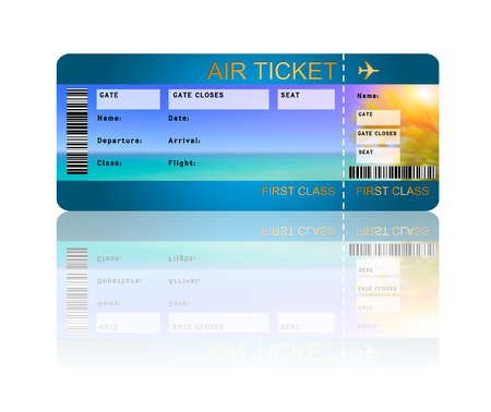 airline boarding pass ticket with shadow isolated over white  photo