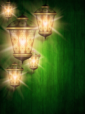 green ramadan kareem background with shiny lanterns photo