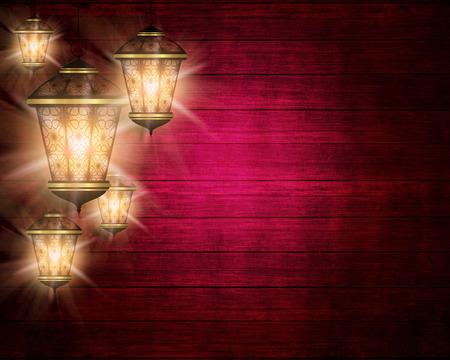 ramzan: dark wooden ramadan kareem background with shiny lanterns Stock Photo