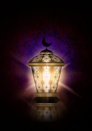 与发光的灯笼的黑暗的赖买丹月Kareem背景