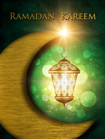 religious event: dark ramadan kareem background with shiny lantern
