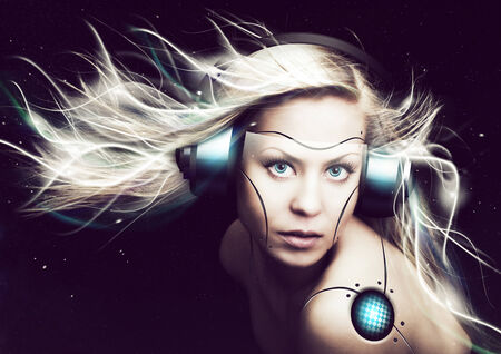 future cyborg woman over dark background photo